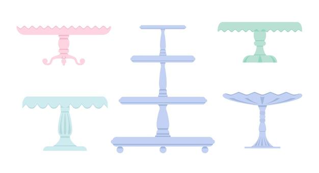 Zestaw stojaków na ciasto w stylu płaski ikona. puste tace na owoce i desery.