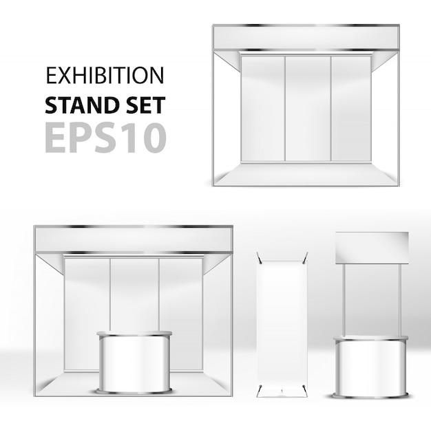 Zestaw stojaków reklamowych. makieta pająk pusty transparent, x-stand banner na białym tle i okrągły punkt sprzedaży i stoiska wystawowe