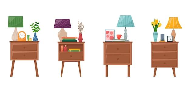 Zestaw stolików nocnych z lampką, zegarem, wazonem z kwiatami, książkami, telefonem, kremem do dłoni i twarzy, ilustracji wektorowych