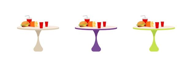 Zestaw stołów fast food w kolorze płaskim. mały okrągły stół z burgerem i sodą. szybki lunch, kreskówka na białym tle posiłek