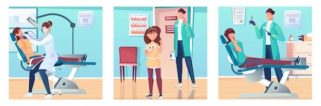 Zestaw stomatologiczny z płaskimi kompozycjami scenerii gabinetu dentystów z postaciami dentystów i ilustracji pacjentów