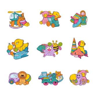 Zestaw stosów zabawek dla dzieci ręcznie rysowane i kolorowe