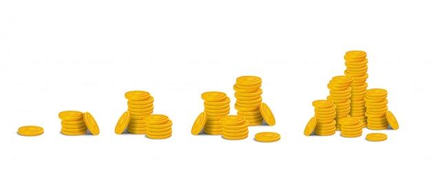 Zestaw stosy złotych monet. stosy kolorowych błyszczących pieniędzy realistycznych zasobów gry z rzędu od jednej monety do dużego stosu. ilustracji na białym tle