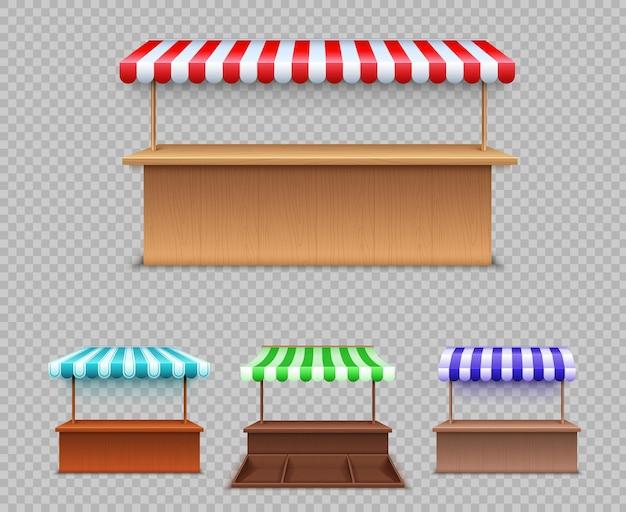 Zestaw straganów rynkowych. realistyczna drewniana lada z baldachimem do handlu ulicznego. namiot, dach sklepu. markizy komercyjne na rynek zewnętrzny