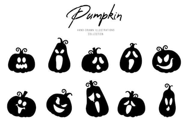Zestaw straszne dynie halloween, ilustracja postaci sylwetka.