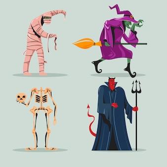 Zestaw strasznych postaci halloween