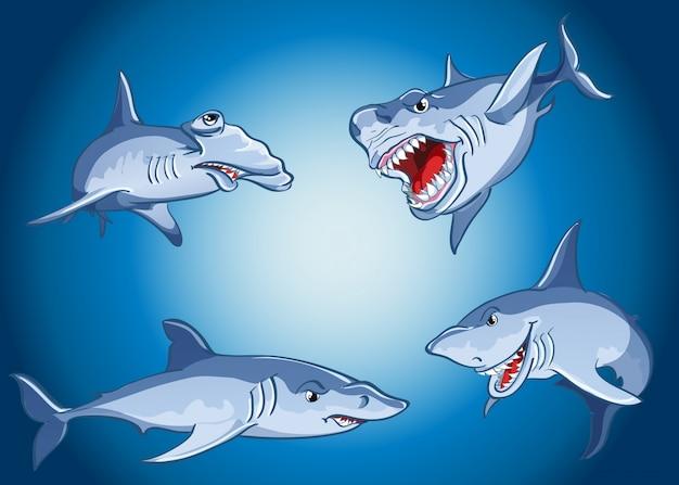 Zestaw strasznych rekinów w stylu cartoon