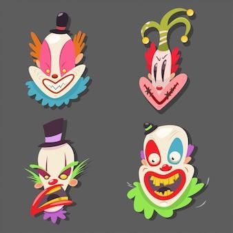 Zestaw strasznych twarzy klauna. ilustracja kreskówka wektor wykonawców cyrkowych z złe emocje izolowane