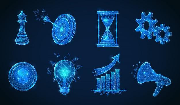 Zestaw strategii biznesowej na białym tle wielokątne lśniące ikony wykonane z błyszczących cząstek i figur geometrycznych