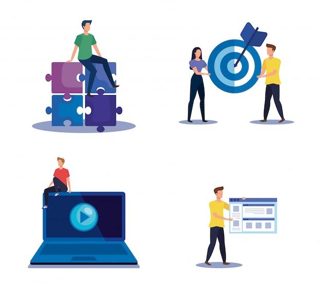 Zestaw strategii pracy zespołowej z ikonami informacji biurowej