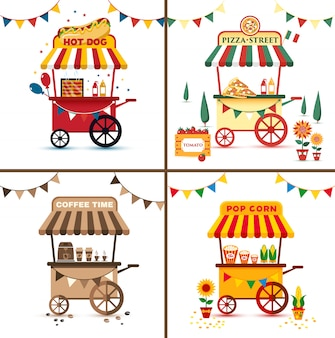 Zestaw street foodów z pizzą, hot dogiem, kawą, kukurydzą. płaska jaskrawa ilustracja.