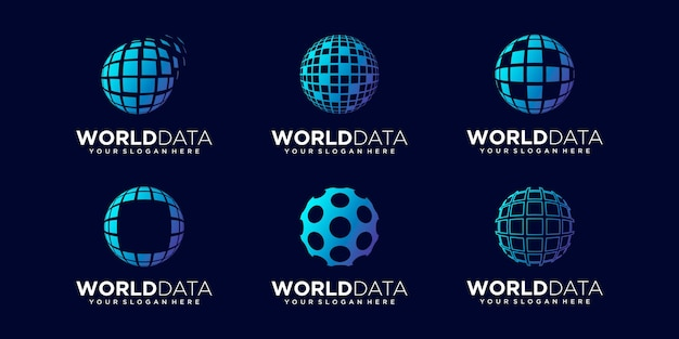 Zestaw streszczenie danych tech globalnego logo design wektor szablon.