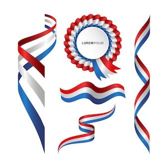 Zestaw streszczenie falisty banderą francji ze stylu wstążki
