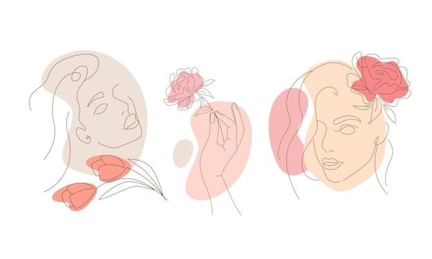 Zestaw streszczenie ilustracje liniowe twarze młodych dziewcząt. ręka trzyma kwiat