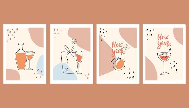 Zestaw streszczenie kartki z życzeniami szczęśliwego nowego roku. minimalizm. sztuka współczesna. martwa natura.