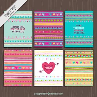 Zestaw streszczenie karty valentine