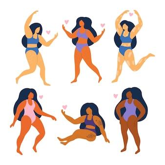 Zestaw streszczenie kobiet w strojach kąpielowych. dziewczyny w dużych rozmiarach. różne rasy i narodowości. ciało pozytywne.