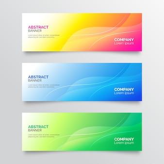 Zestaw streszczenie kolorowe banery gradientowe