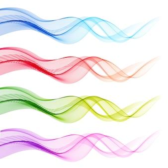 Zestaw streszczenie kolorowe fale przezroczyste