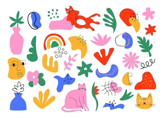 Zestaw streszczenie kot. nowoczesne, modne naklejki graficzne z kotami, liśćmi i organicznymi kształtami. ilustracje wektorowe na białym tle elementy projektu nowoczesne naklejki bazgroły