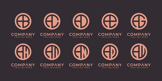 Zestaw streszczenie list początkowy szablon projektu logo. ikony dla biznesu luksusowe, eleganckie, proste.