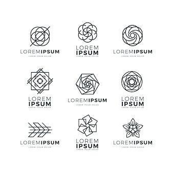 Zestaw streszczenie logo liniowe