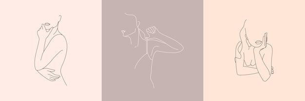Zestaw streszczenie minimalistyczna postać kobieca w bieliźnie. ilustracja wektorowa kobiecego ciała w stylu liniowym.