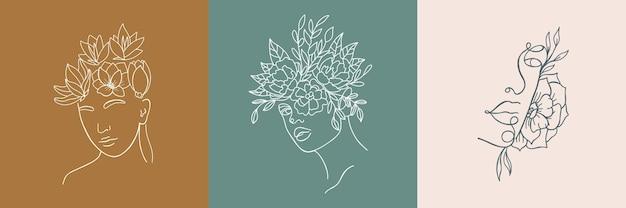 Zestaw streszczenie minimalistyczny portret kobiety. ilustracja moda wektor w modnym stylu liniowym. elegancka sztuka. do plakatów, tatuaży, logo sklepów z bielizną