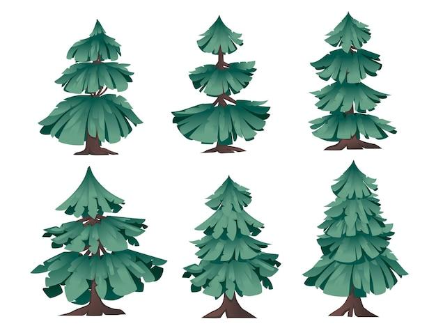 Zestaw streszczenie nowoczesne stylizowane zielone drzewa iglaste płaskie wektor ilustracja na białym tle.