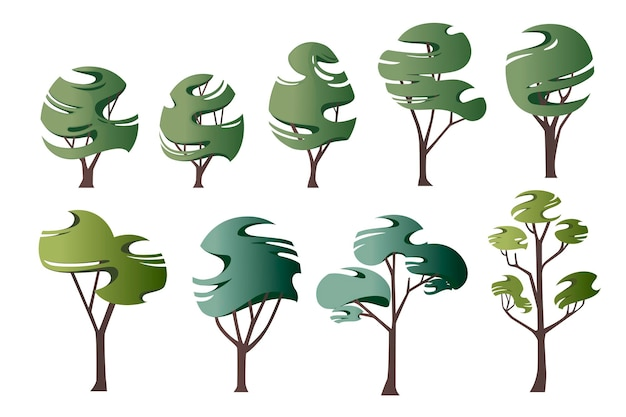 Zestaw streszczenie nowoczesne stylizowane zielone drzewa płaskie wektor ilustracja na białym tle.
