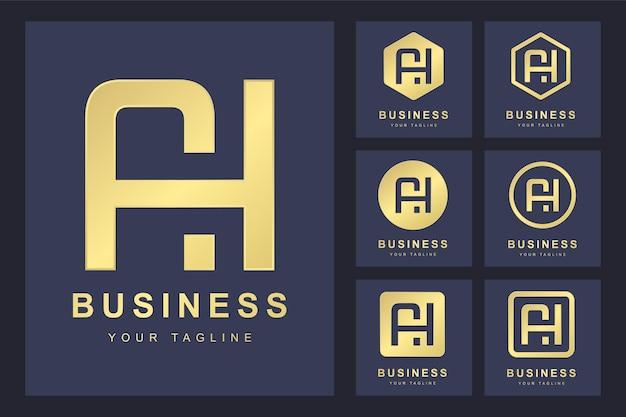 Zestaw streszczenie pierwsza litera ah, złoty szablon logo.