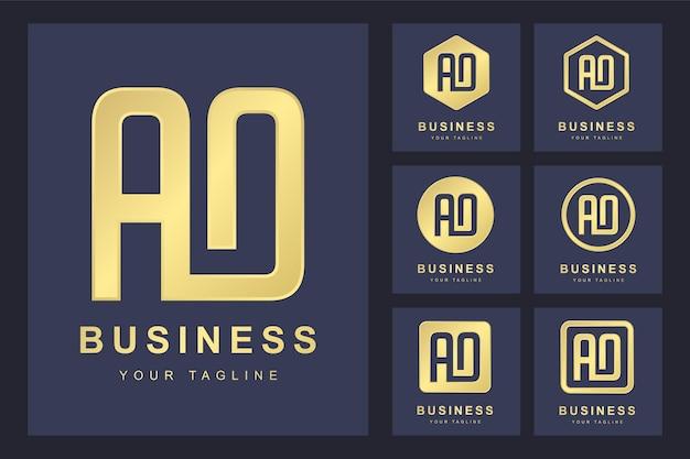 Zestaw streszczenie pierwsza litera ao, złoty szablon logo.