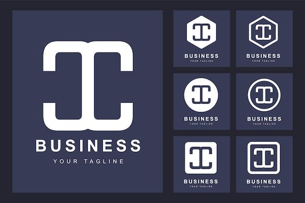Zestaw streszczenie pierwsza litera cc, szablon logo.