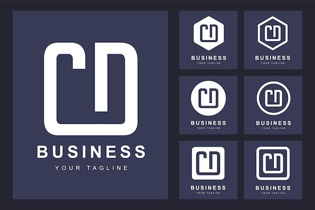 Zestaw streszczenie pierwsza litera cd, szablon logo.