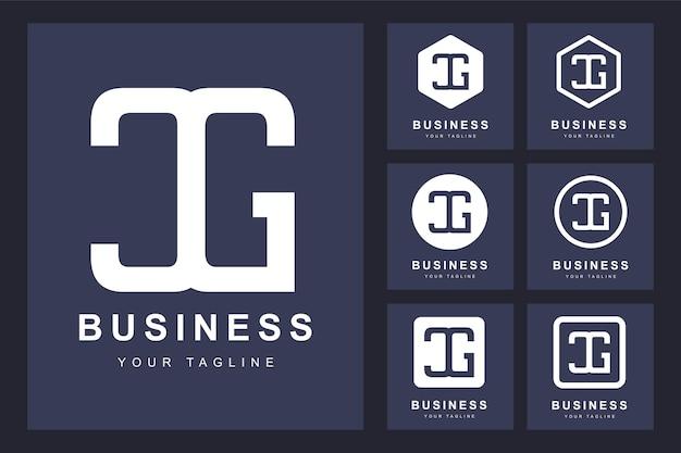 Zestaw streszczenie pierwsza litera cg, szablon logo.