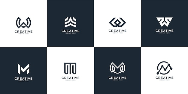 Zestaw streszczenie początkowa litera w i szablon logo litera m. ikony dla biznesu luksusu, eleganckiego, prostego.