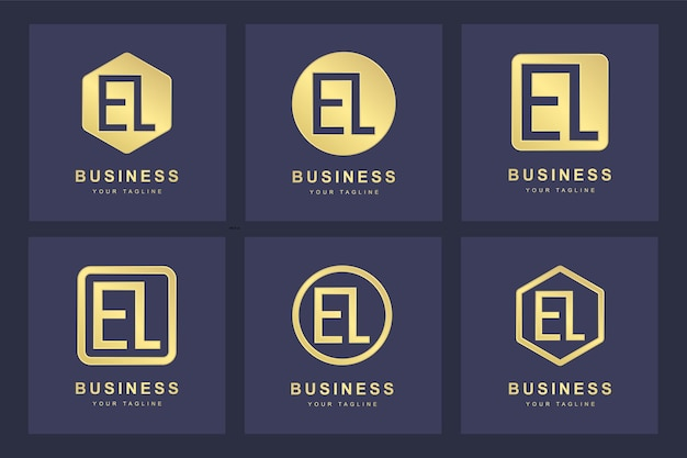 Zestaw streszczenie początkowe litery el el szablon logo.
