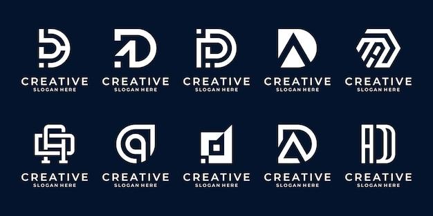 Zestaw streszczenie początkowej litery d, szablon logo.