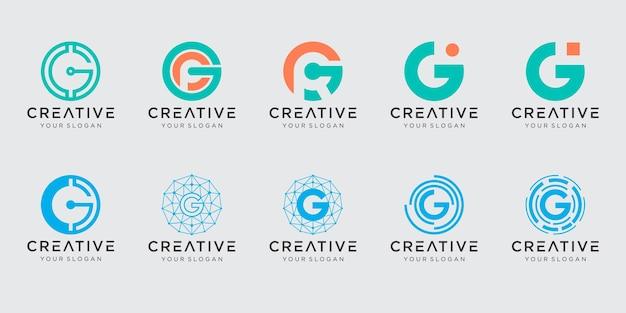 Zestaw streszczenie początkowej litery g logo szablon. ikony dla biznesu modowego, cyfrowego, technologicznego