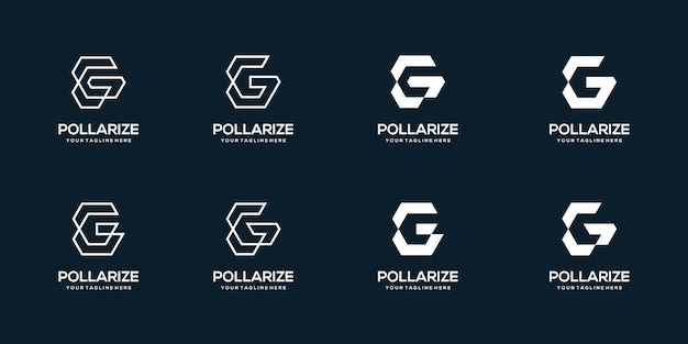 Zestaw streszczenie początkowej litery g logo szablon projektu. ikony dla biznesu cyfrowego, technologii.