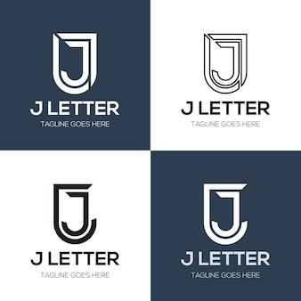 Zestaw streszczenie początkowej litery j logo szablon projektu. ikony dla biznesu luksusu, elegancji, prostoty