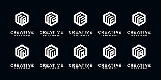 Zestaw streszczenie początkowej litery r logo szablon projektu. ikony dla biznesu luksusowe, eleganckie, proste.