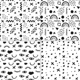 Zestaw streszczenie ręcznie rysowane wzór