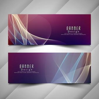 Zestaw streszczenie stylowe kolorowe faliste banery