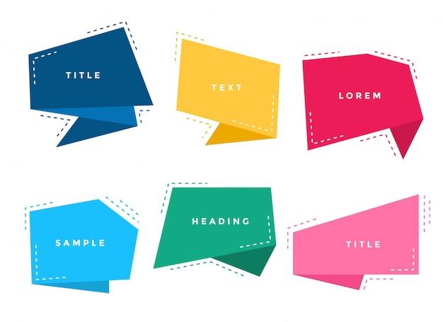 Zestaw streszczenie stylowy kolorowy origami czat