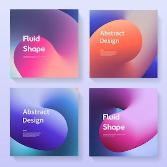 Zestaw streszczenie tła. okładki z gradientowymi kolorowymi kształtami. płynne futurystyczne tło wektor wzór kolekcji.