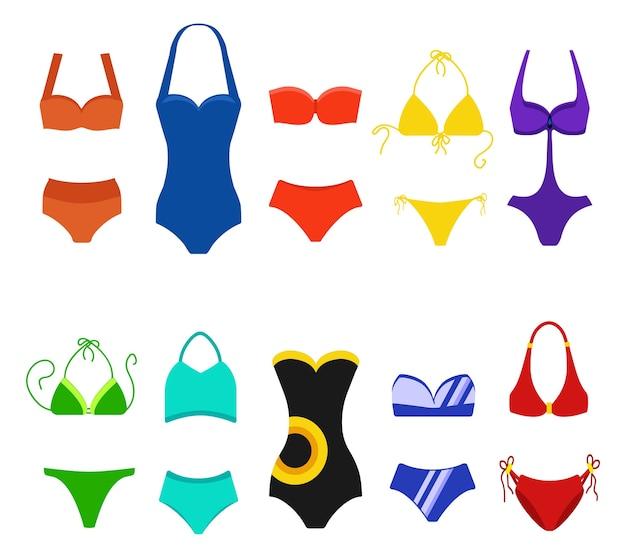 Zestaw strój kąpielowy kobiety na białym tle. kostiumy kąpielowe bikini do pływania. ilustracja kolekcja bikini, tankini i monokini moda