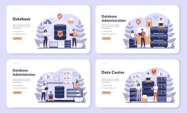Zestaw stron docelowych administratora bazy danych. kobieta i mężczyzna postać pracująca w centrum danych. nowoczesna technologia komputerowa, idea zawodu it. ilustracja na białym tle wektor