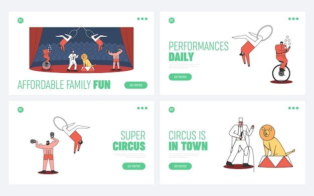 Zestaw stron docelowych cyrku. witamy w koncepcji imprezy cyrkowej