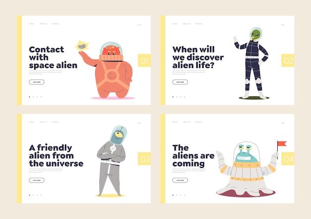 Zestaw stron docelowych dla kosmitów i życia w koncepcji kosmicznej z uroczymi zabawnymi kosmicznymi potworami.
